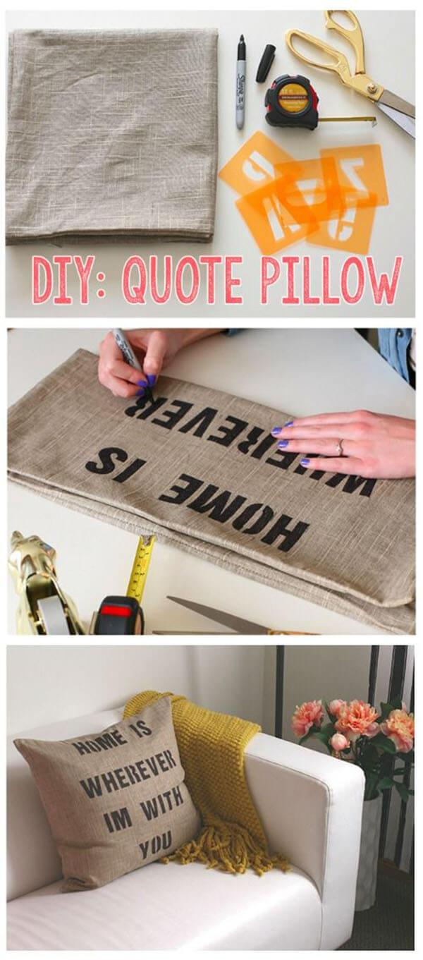 Quotable Decor Hand Stenciled Pillow