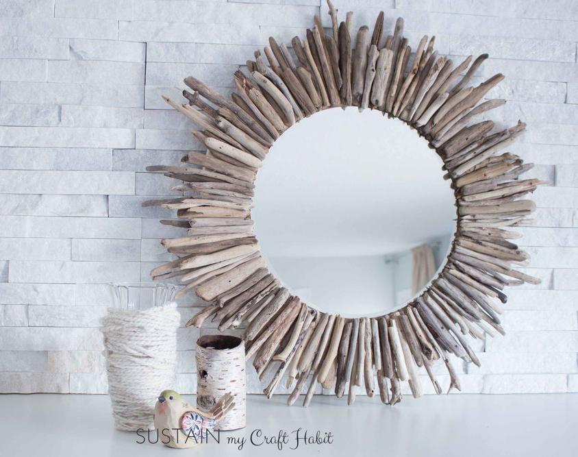 Reflect Your Beauty with a Driftwood-Adorned Mirror