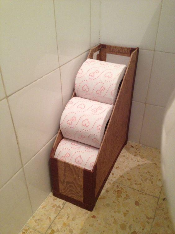 Repurposed Magazine Holder Turned Toilet Paper Storage
