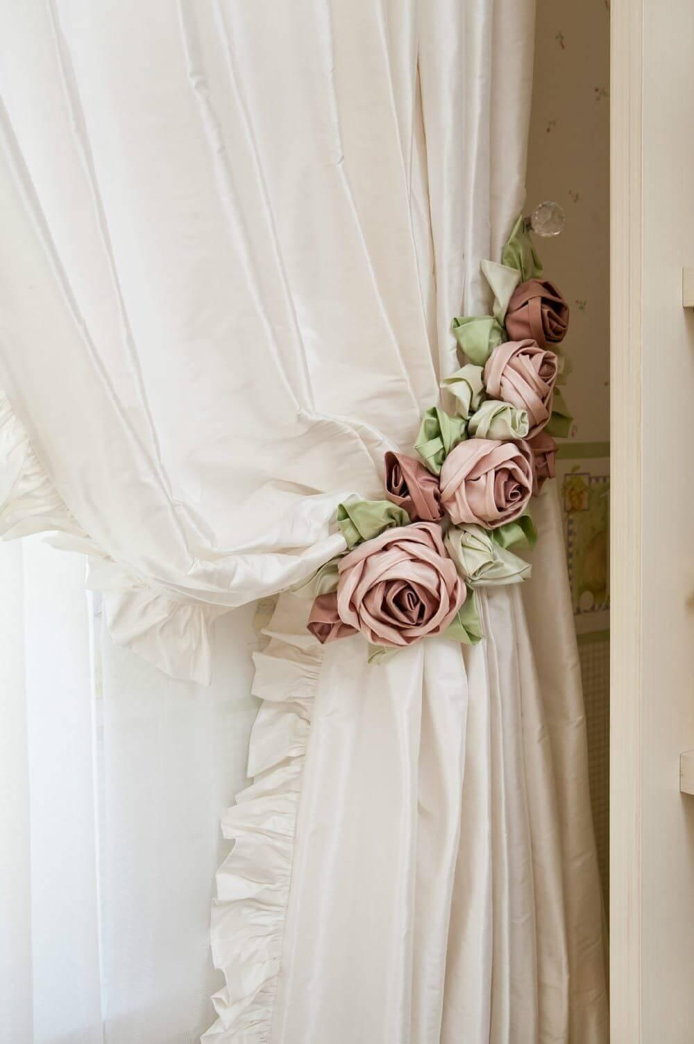 Shabby Chic Rose Curtain Tie Backs