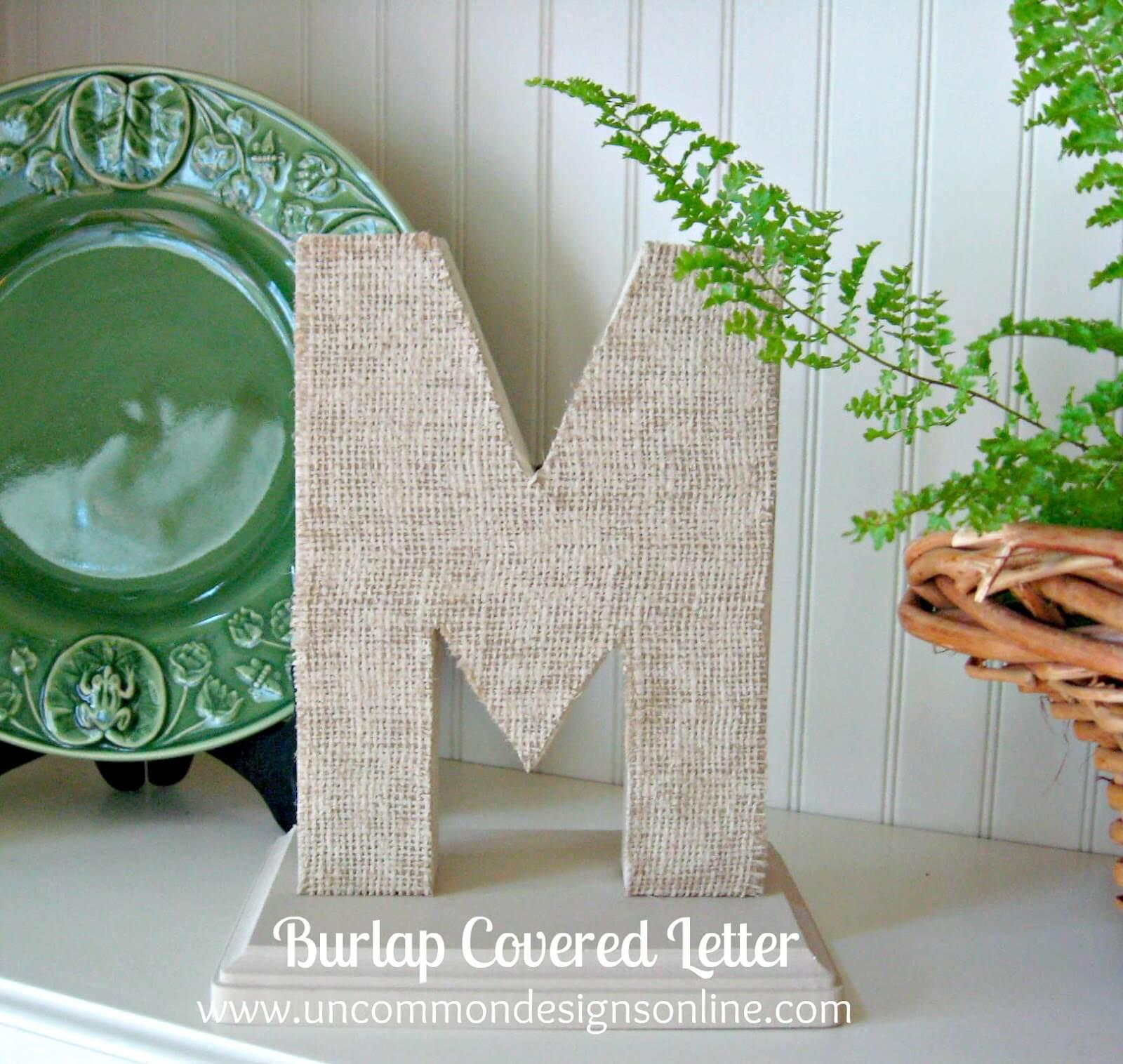 Shabby Schoolhouse Burlap Covered Letter