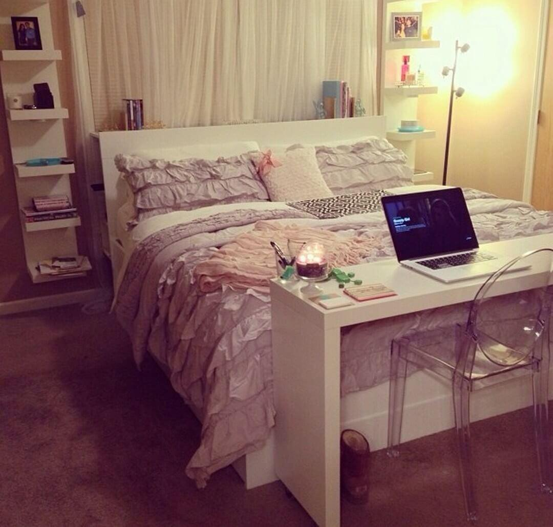 - Soft Ruffled Bed Facing A Small Desk - Decoration Ideas