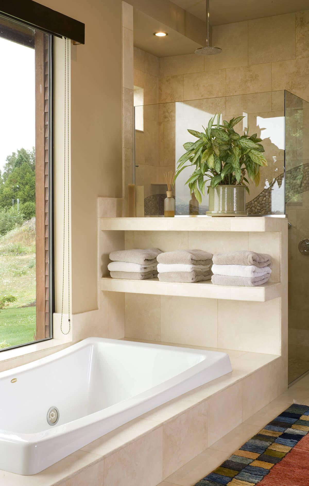 Tiled Floating Built-in Bathroom Shelf