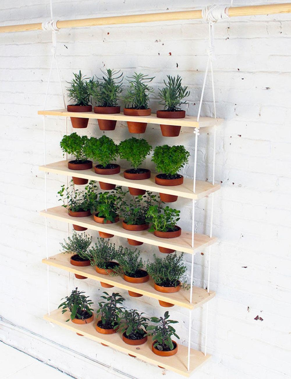 Transform Airy Wooden Shelving Into an Herb Garden