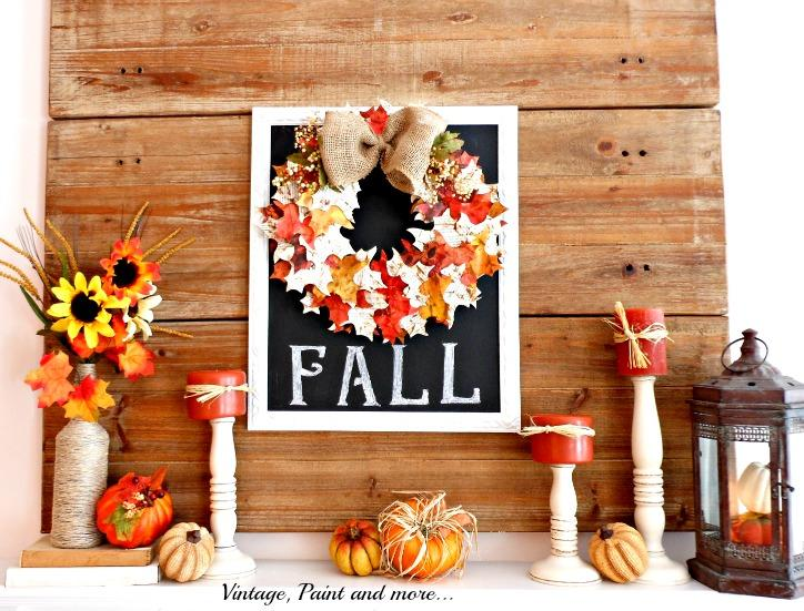 Vintage, Happy Fall Mantel Design
