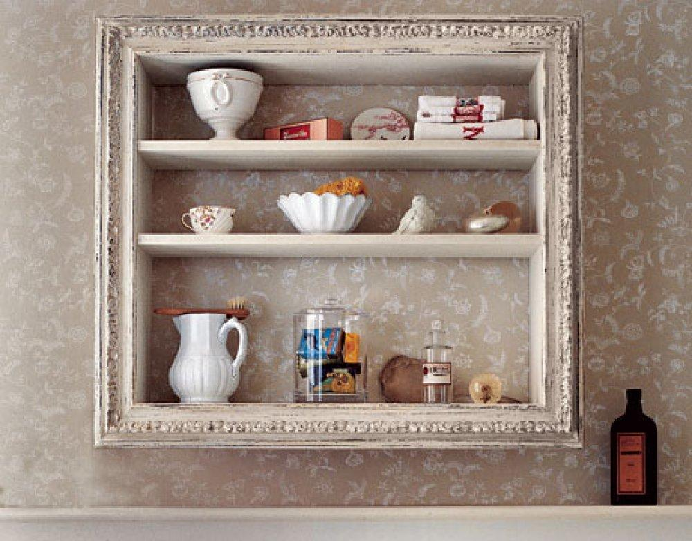 Vintage Wooden Framed Storage Shelves