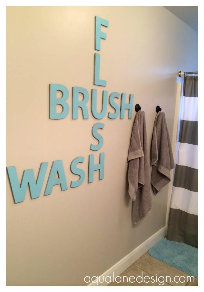 Wall Scrabble Letters as Bathroom Decorations