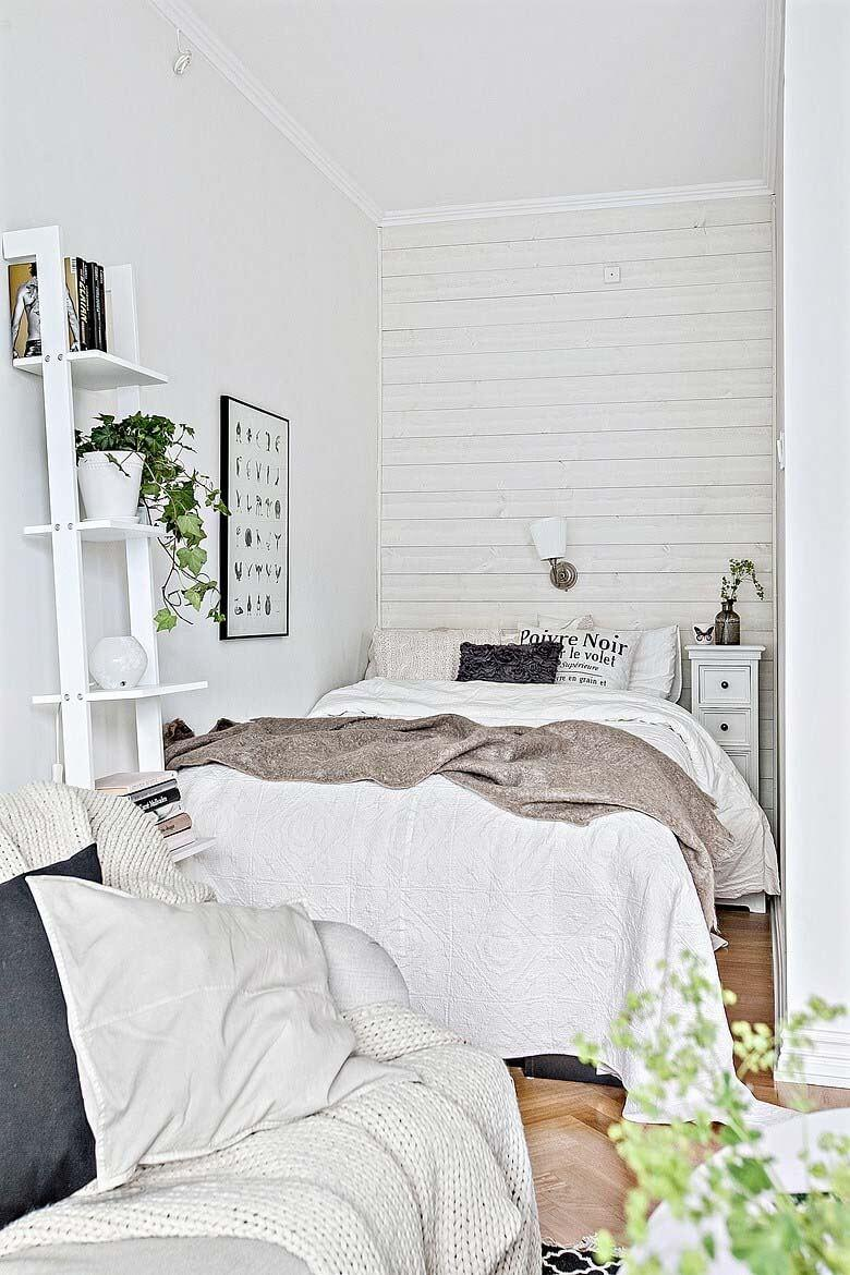 Welcoming White Shelves and Green Plants
