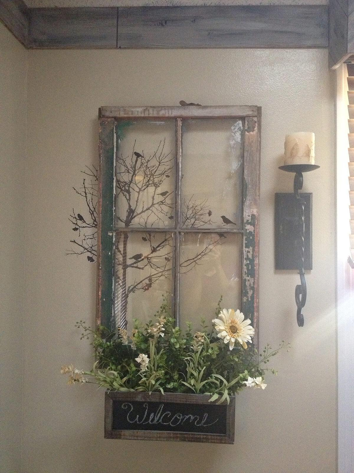 Welcoming Window Repurposed Planter Sign
