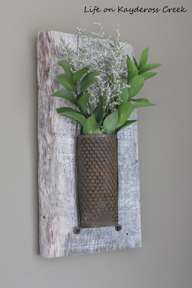Whitewashed Wood and Antique Brass Wall Sconce