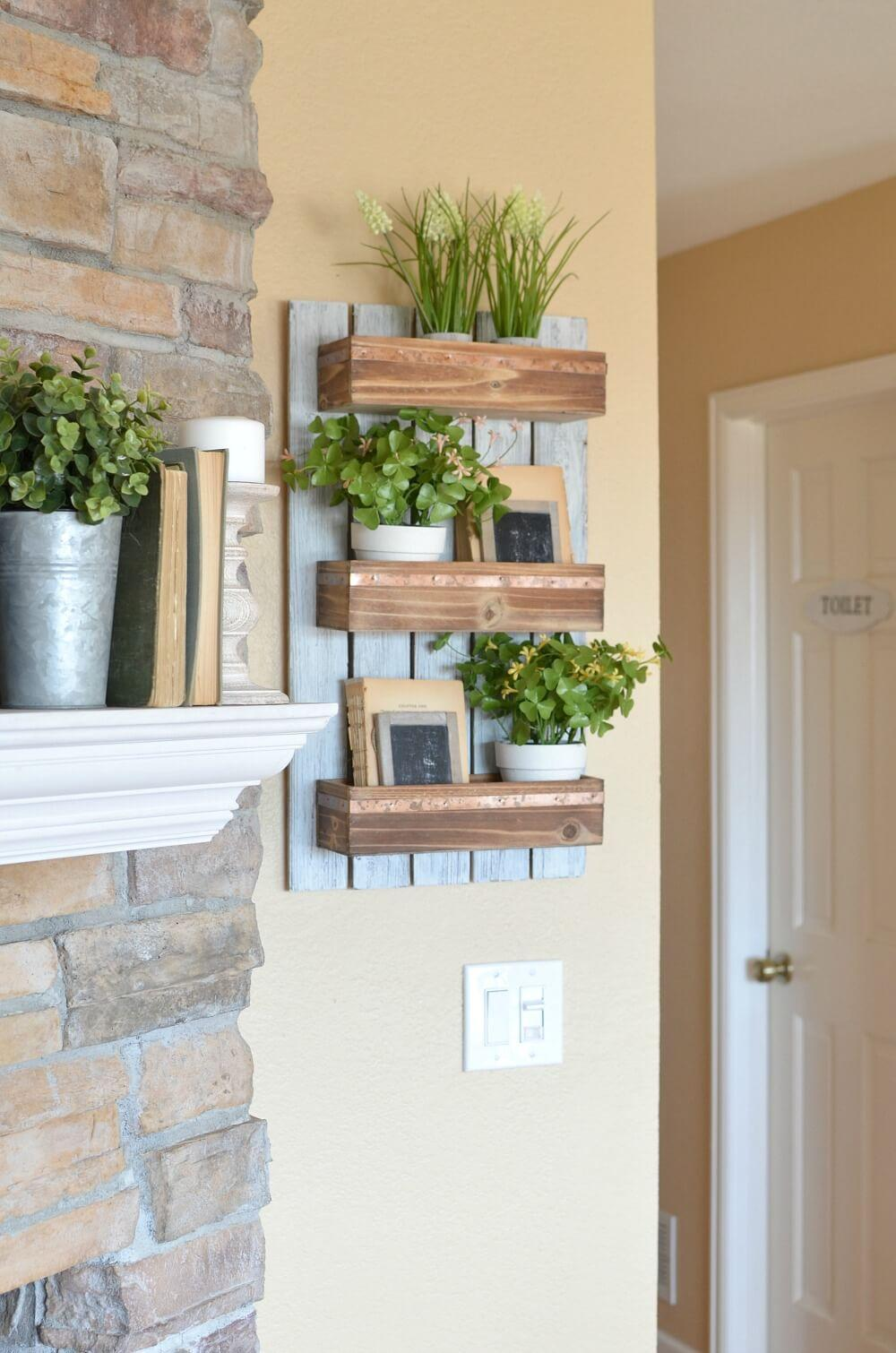 Wooden Shelf for Farmhouse Living Room Designs